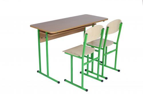 Комплект стіл учнівський 2-місний з полицею, № 6 + стілець полозковий, №6