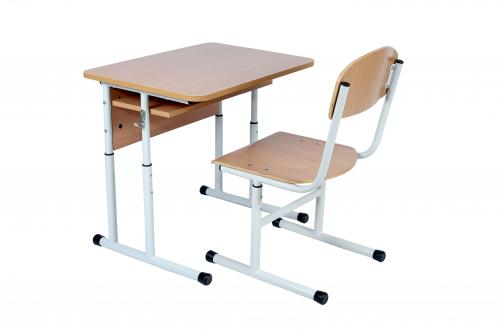Комплект стіл учнівський 1-місний з полицею, №4-6 + стілець Т-подібний з покриттям HPL, №4-6