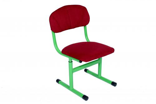 Children's T-shaped chair, on a square tube, is regulated on growth groups No1-3, semi-soft (fabric).