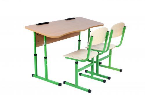 Комплект стіл учнівський 2-місний  без полиці антисколіозний, №4-6+стілець Т-подібний, №4-6