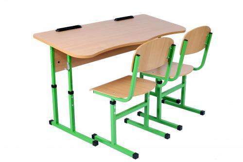 Комплект стіл учнівський 2-місний  без полиці антисколіозний, №4-6+стілець Т-подібний з покриттям HPL, №4-6