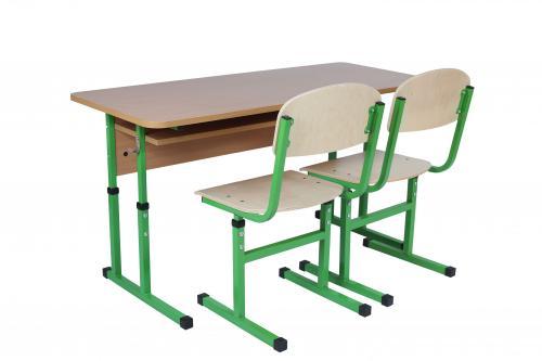 Комплект стіл учнівський 2-місний з полицею, №4-6+стілець Т-подібний, №4-6