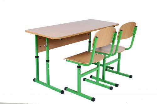 Комплект стіл учнівський 2-місний без полиці, №4-6+стілець Т-подібний з покриттям HPL, №4-6