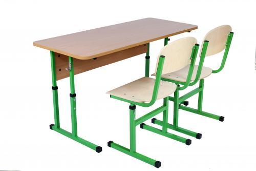 Комплект стіл учнівський 2-місний без полиці, №4-6+стілець Т-подібний, №4-6